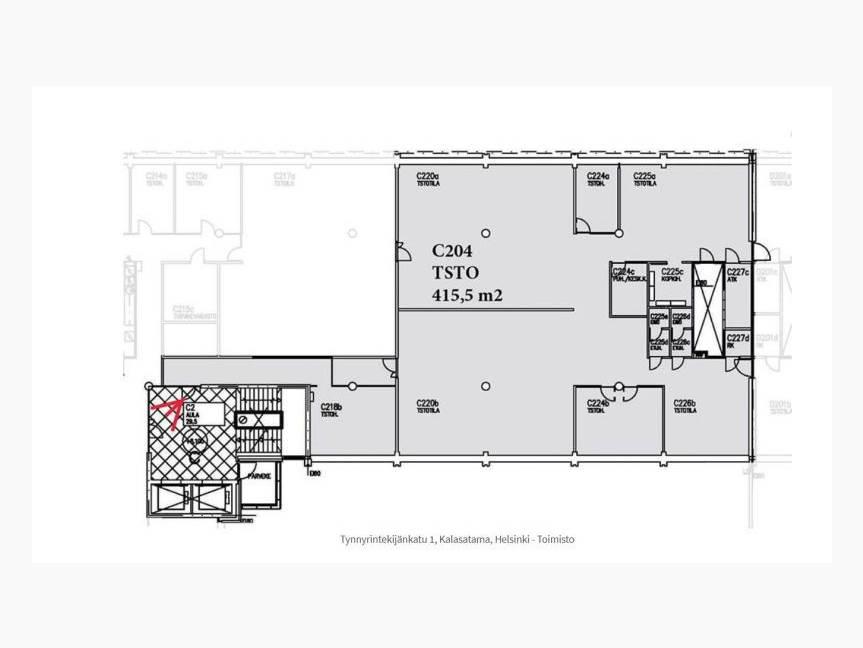 2. krs pohja 415,5 m2