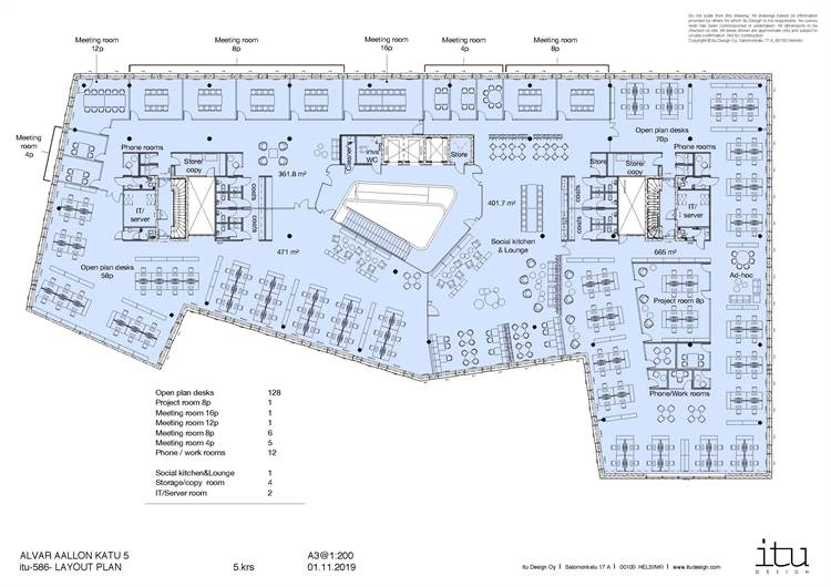 Planlösning Alvar Aallon katu 5 Keskusta