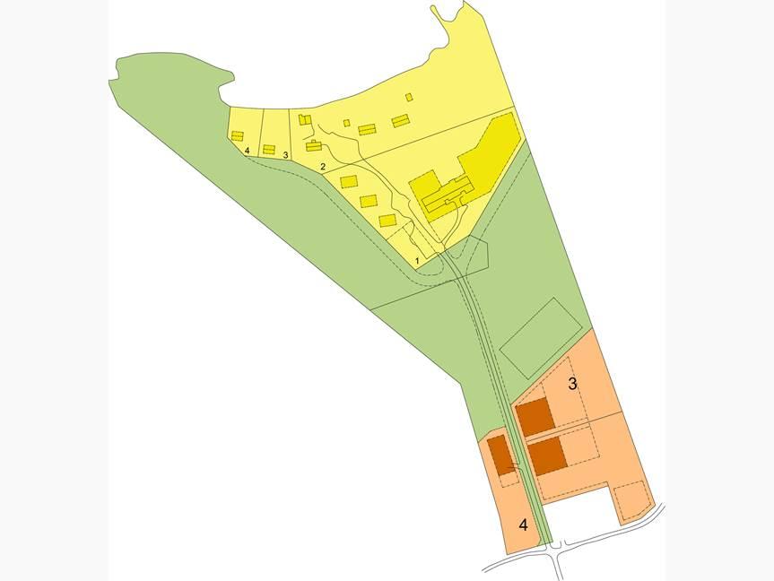 Kaupan kohteena on vihreällä merkitty metsäalue sekä keltaisella merkityt kaavatontit 1 ja 2. Omarantaiset vapaa-ajantontit 3 ja 4 on varattu ensisijaisesti toimitilan ostajan ostettavaksi á 50.000 €