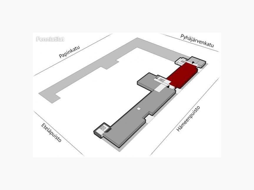 Sijainti rakennuksessa Hämeenpuisto sivulla
