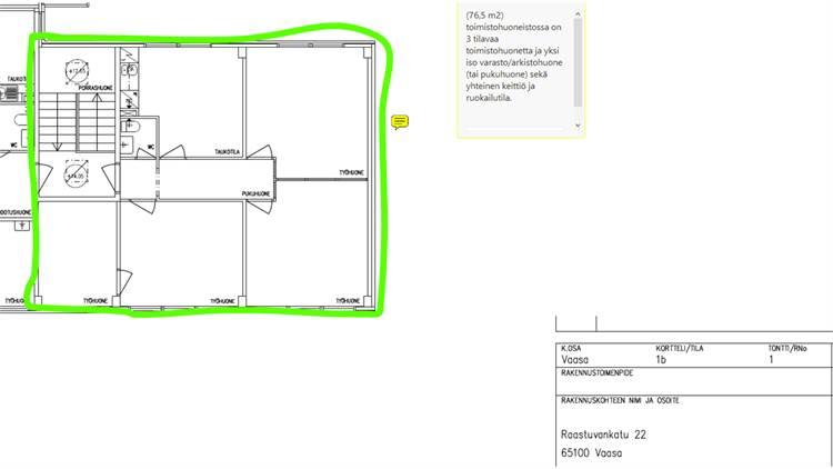 Planlösning Raastuvankatu 22 A, 2. kerros ydinkeskusta