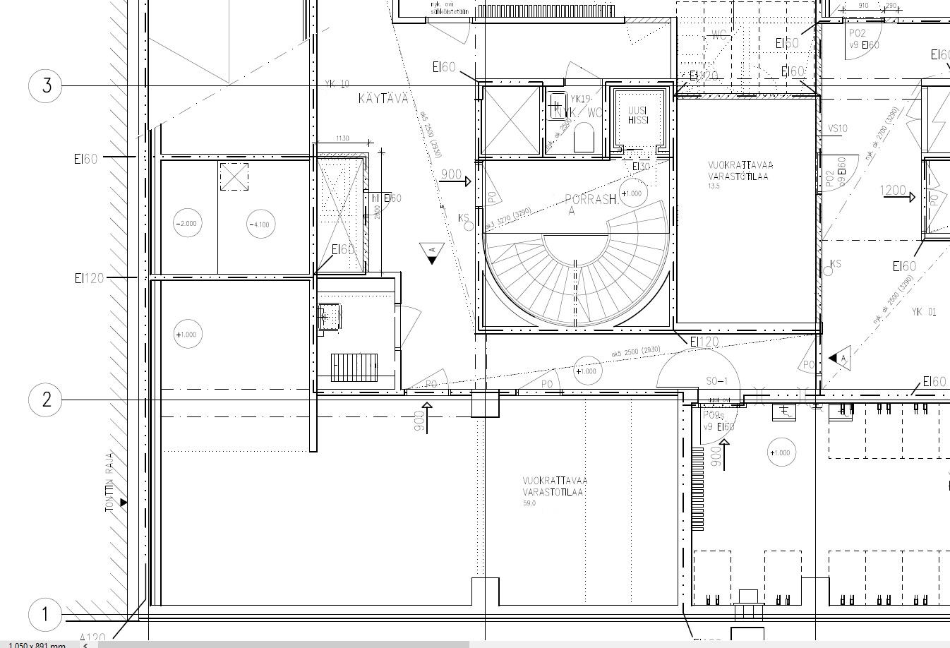 Alustava pohjakuva (13,5m2 varasto sijaitsee porrashuoneen oikealla puolella pohjakuvassa)