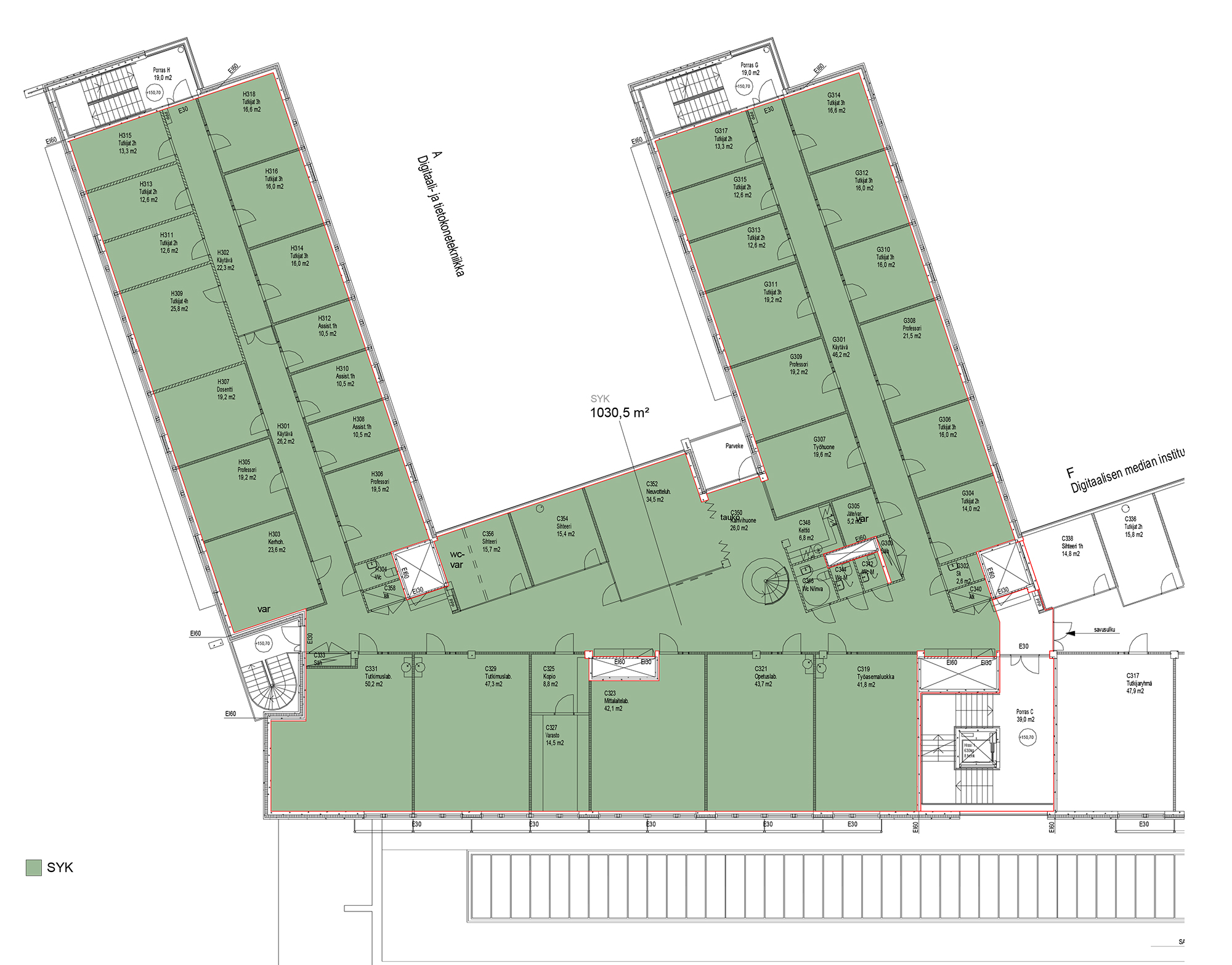Planlösning Korkeakoulunkatu 1 Pirkanmaa