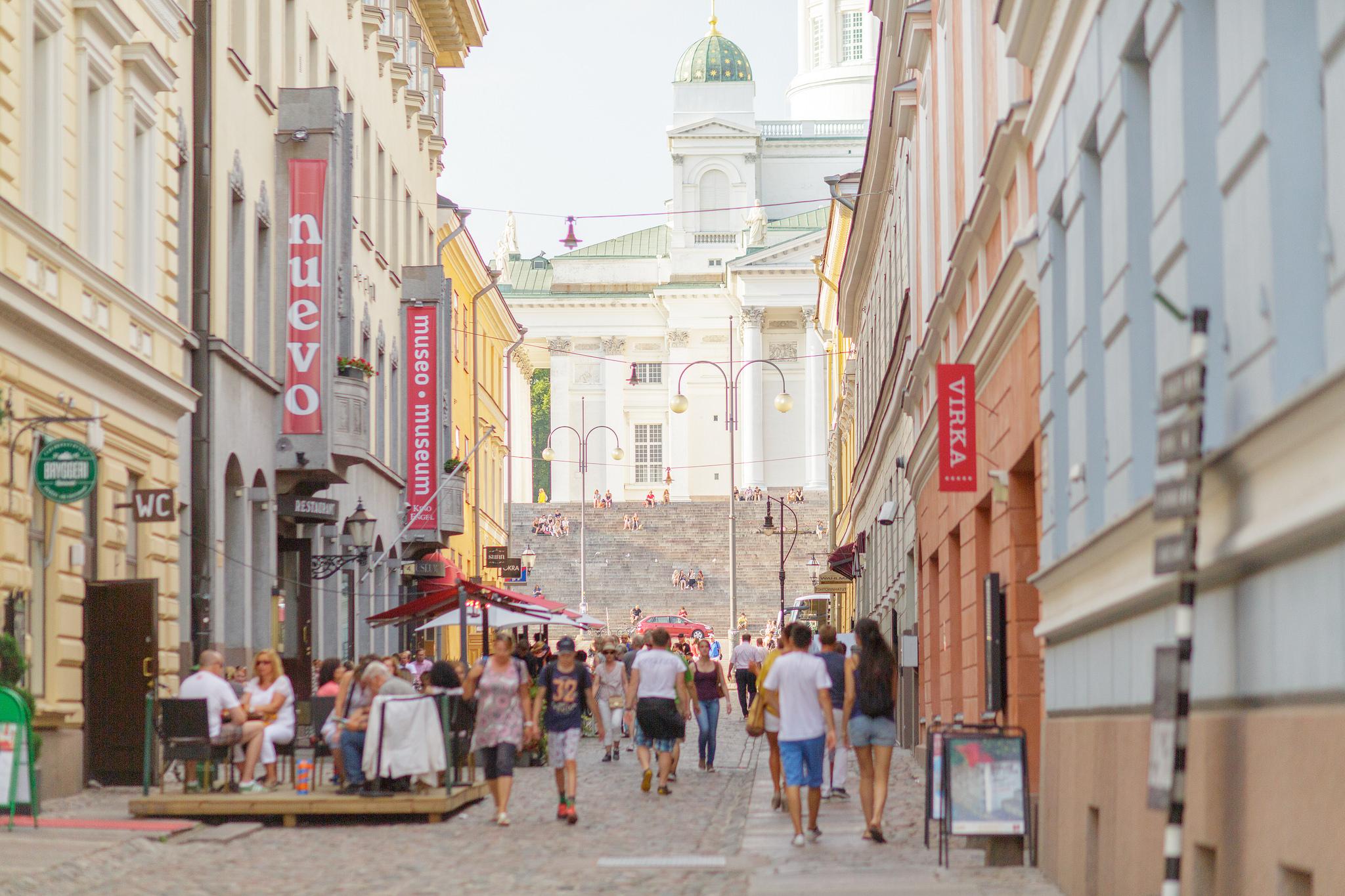 Sofiankatu, rakennus vasemmalla (ent.Nuevo ja kaupunginmuseo)