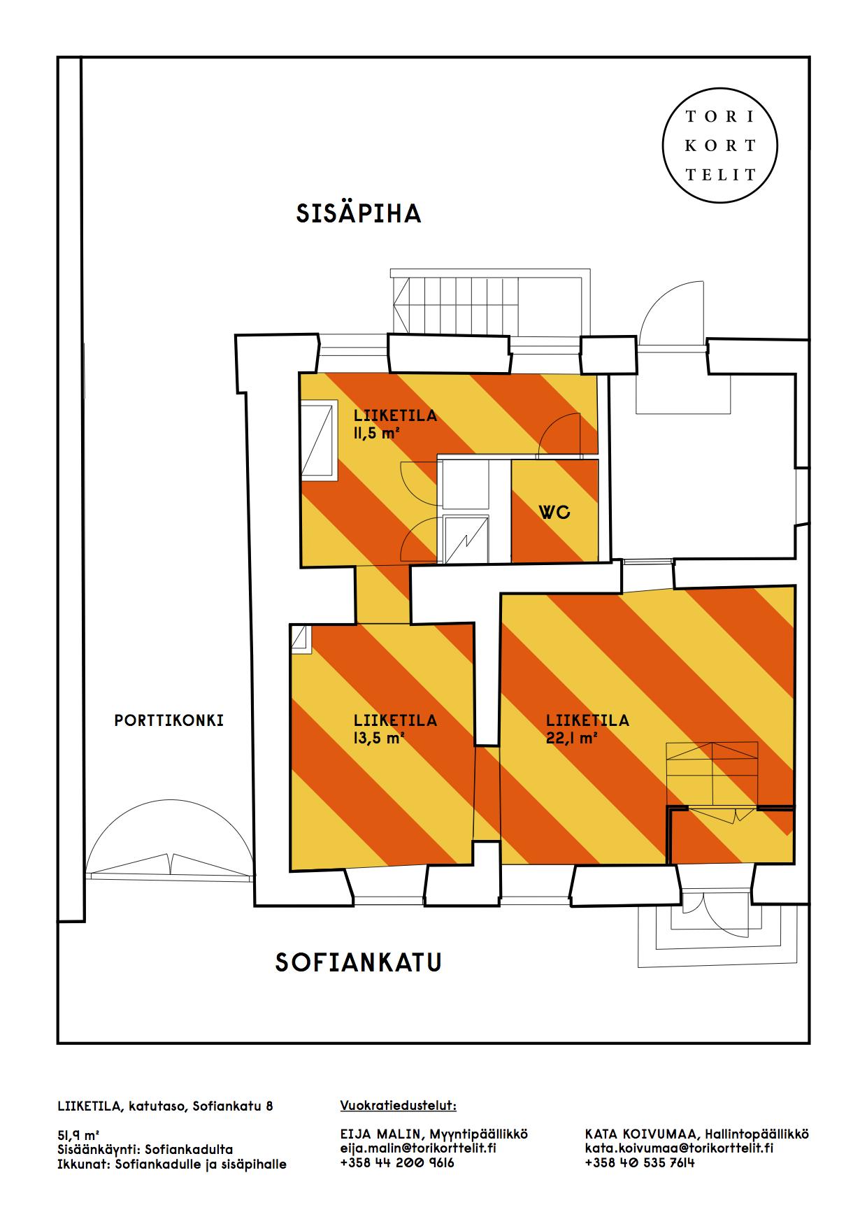 Planlösning Sofiankatu 8 Keskusta
